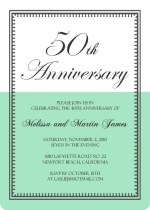 White and Aqua Vintage 50th Wedding Anniversary Party Invitations