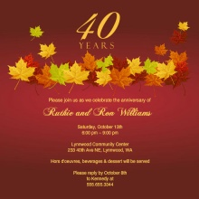 Red Anniversary Fall Leaves  Anniversary Invitation