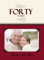 Forty Years Trifold Ruby Red Photo Anniversary Party Invitation
