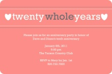 Pink Twenty Whole Years Anniversary Party Invitation