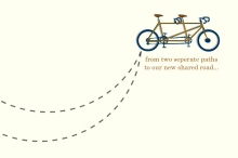 Tandem Bicycle Road of Love Anniversary Party Invitation