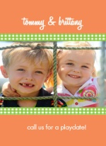 Peach and Green Ribbons Playdate Mommy Card