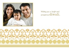 Ornate Gold Photo Diwali Card