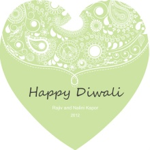 Green Paisley Heart Diwali Card