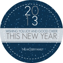 Blue Starry Sky New Years Card