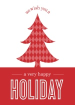 Red Pattern Christmas Tree Holiday Card