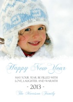 Blue and White Snowflakes New Years Card