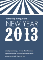 Navy and White New Year Party Invitation