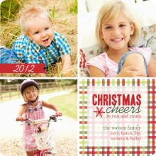 Red Gingham Christmas Photo Card