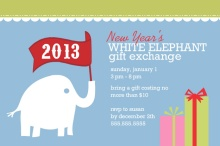 New Year's White Elephant Gift Exchange Party Invitation