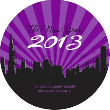 Purple City Skyline New Years Party Invitation