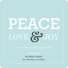 Modern Peace Love and Joy Blue Holiday Card