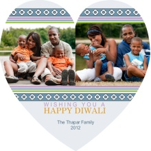 Geometric Heart Diwali Photo Greeting Card