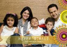 Festive Circles Family Photo Diwali Greeting Card