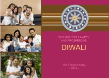 Three Photo Magenta Diwali Greeting Card