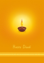 Orange Diya Lamp Diwali Greeting Card