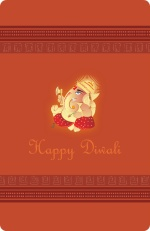 Lord Ganesha Pink Diwali Greeting Card