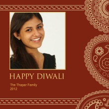 Paisley Patterned Photo Diwali Greeting Card