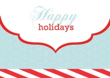 Happy and Merry Blue White and Red Holiday Card