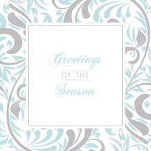 Silver and Blue Swirls Holiday Card