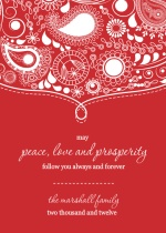 White and Red Paisley Holiday Card
