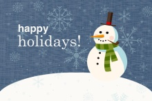 Snowman and Snowflakes Holiday Card