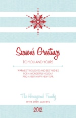 Classic Blue Linen with Red Snowflake Holiday Card