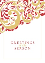 Red & Gold Flourish  Business Holiday Card