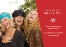Red Seasons Greetings Business Holiday Photo Card
