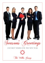 Red Corporate Photo Holiday Card
