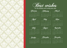 Damask Calendar Business Holiday Card