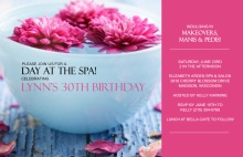 Pink Floating Flowers 30th Birthday Invitation