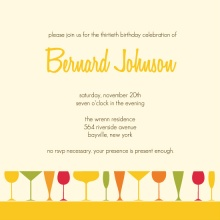 Colorful Cocktail Glasses Birthday Invite