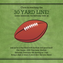 Green Yard Line Football Birthday Party Invitation