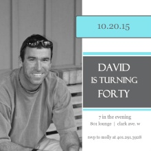 Square Blue and Grey 40th Birthday Party Invitation