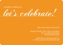 Orange Let's Celebrate Birthday Invitation