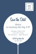 Blue and White Contemporary 40th Birthday Party Invitation