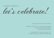 Blue Let's Celebrate Birthday Invitation