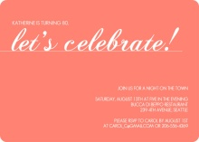 Coral Let's Celebrate 80th Birthday Invitation