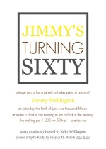 Yellow and Grey Box 60th Party Invitation