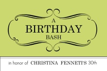Light Green Bash 30th Birthday Party Invite