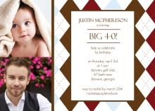 Two Photo Golf Fortieth Birthday Invitation
