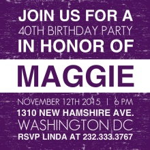 Purple News Flash 40th Birthday Invitation