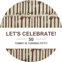 Brown Tools 50th Birthday Invitation