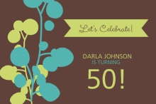 Modern Flower 50th Birthday Party Invite