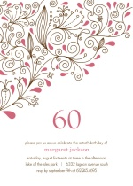Pink Floral 60th Birthday Party Invitation