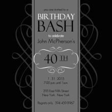 Black and Grey Formal Soiree  40th Birthday Invite