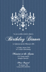 Elegant Chandelier Blue Birthday Party Invitation