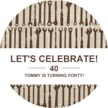 Brown Tools 40th Birthday Invitation