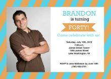 Masculine Striped Photo 40th Birthday Invite